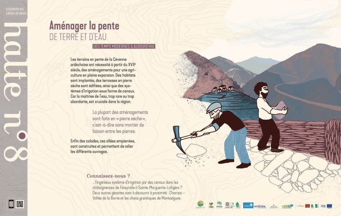 sentier géologique cirques de Naves - aménager la pente dans les cévennes
