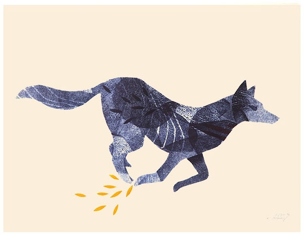 animale nature - course du loup - linogravure