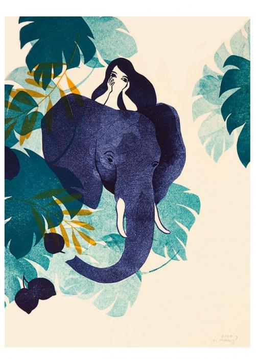 animale nature - femme éléphant - linogravure