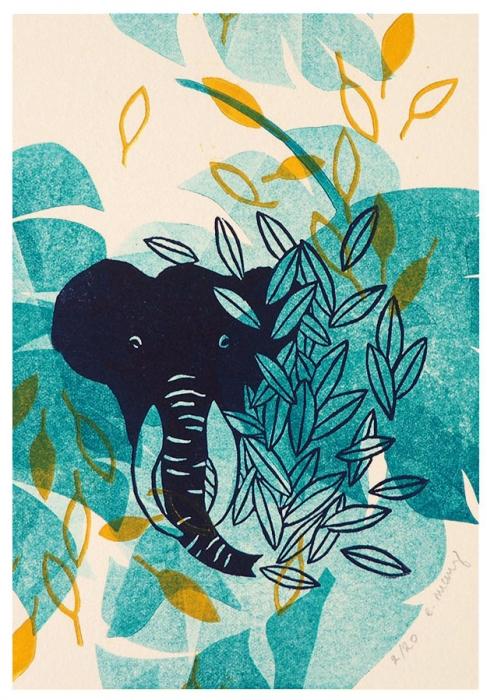 animale nature - éléphant - linogravure
