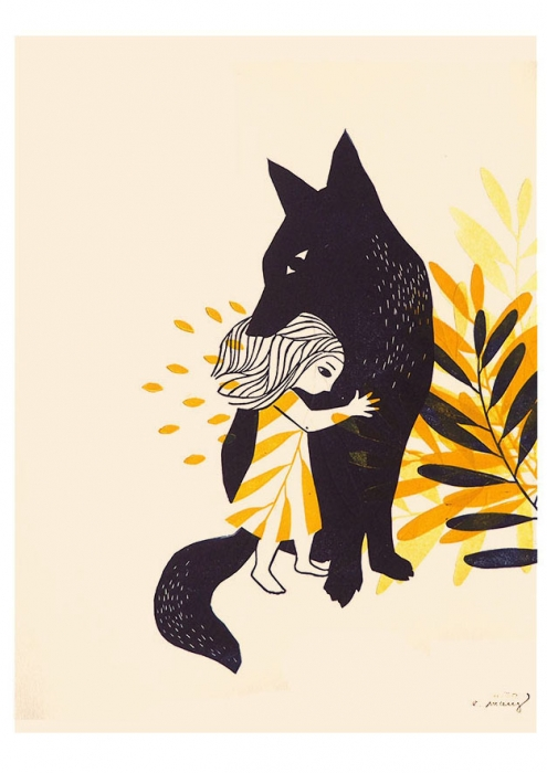 animale nature - petite fille et le loup - linogravure
